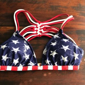 Exhilaration Red White And Blue Bikini Top XS